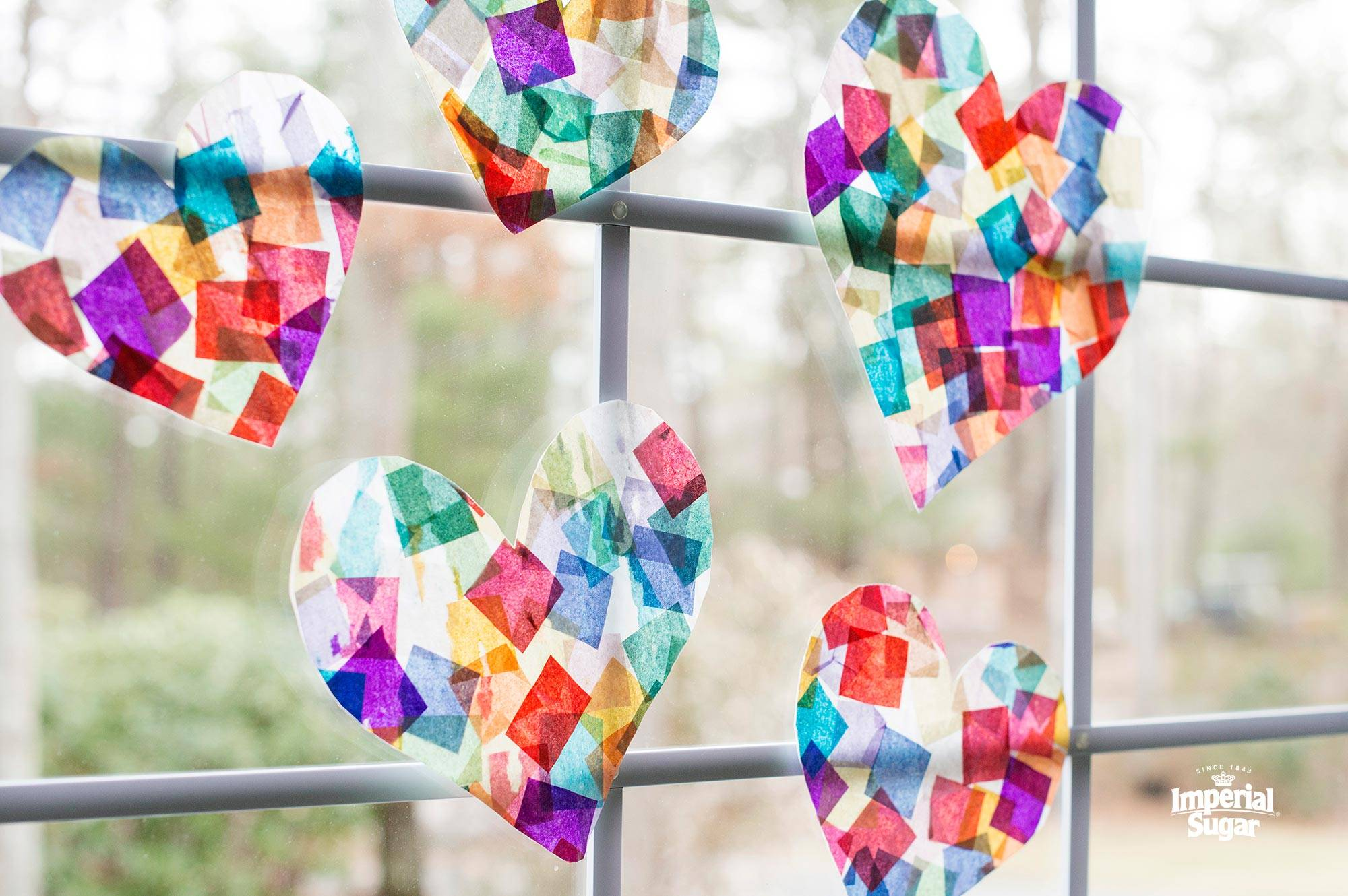Tissue Paper Stained Glass Hearts Dixie Crystals
