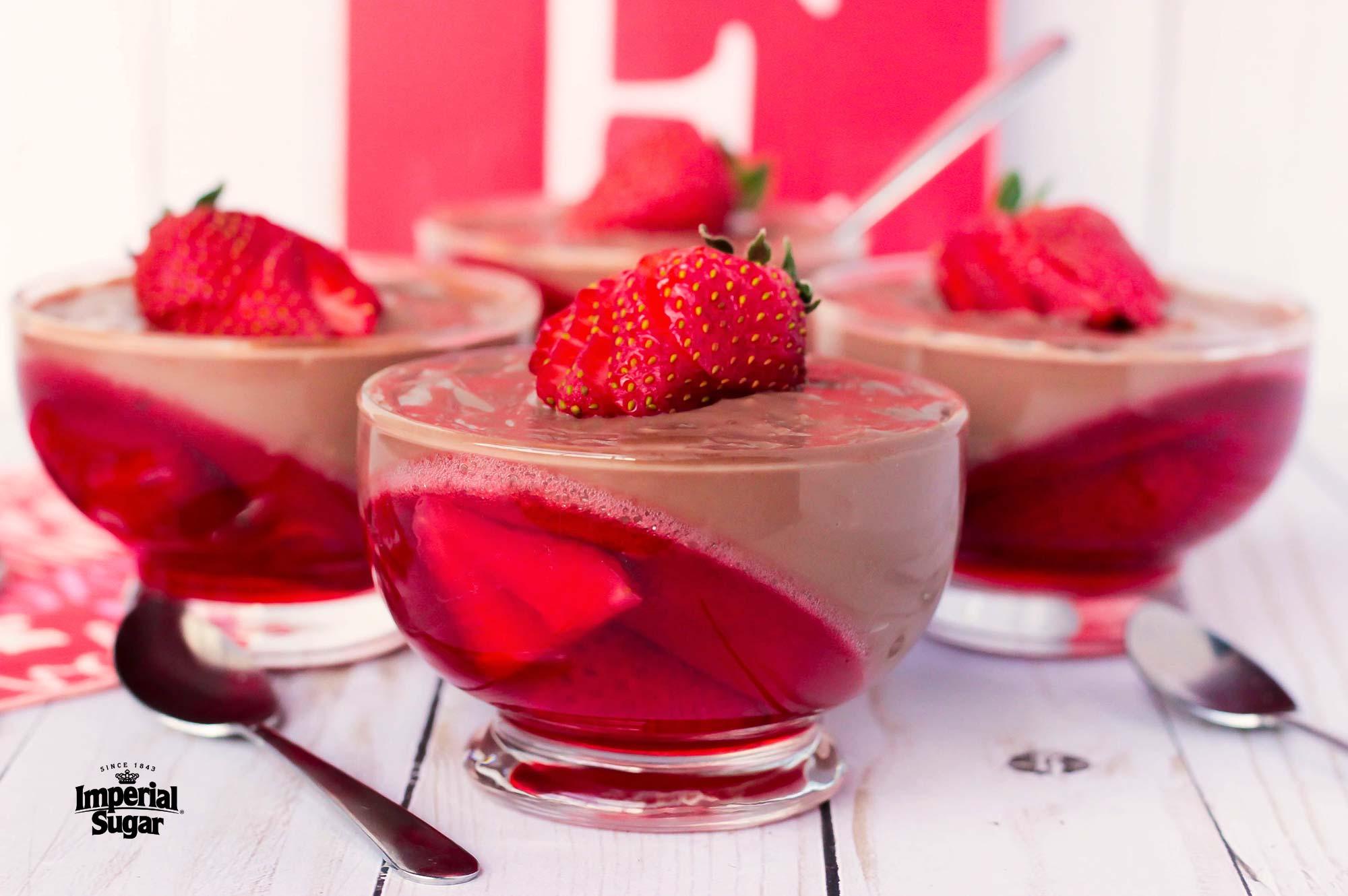 dessert recipes with jello pudding Chocolate Pudding and Strawberry Jello Parfaits