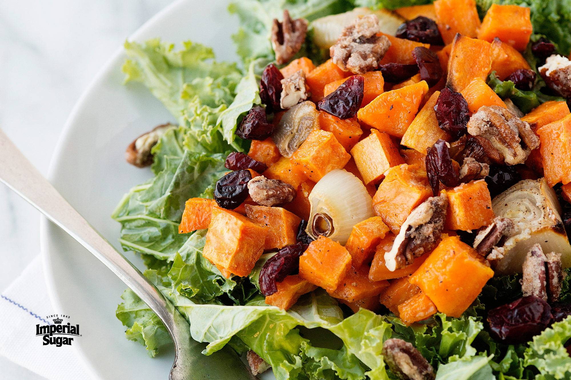 Kale Roasted Sweet Potato Salad With Candied Pecans Dixie Crystals
