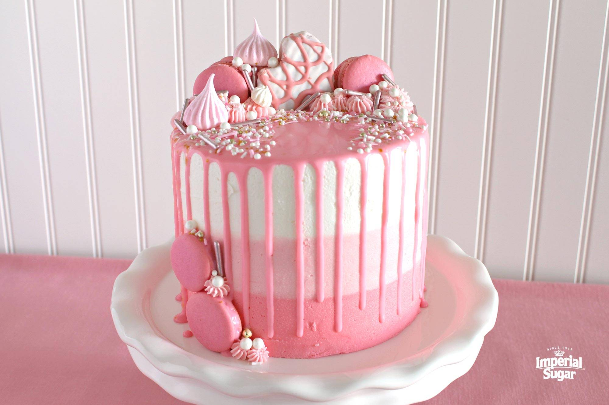 Pink Ombre Drip Layer Cake Dixie Crystals
