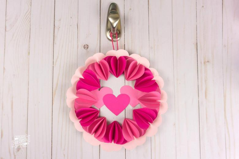 3D Paper Heart Wreath