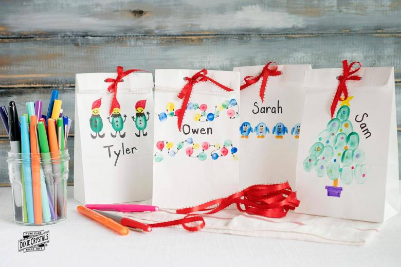 Finger painted Christmas Treat Bags