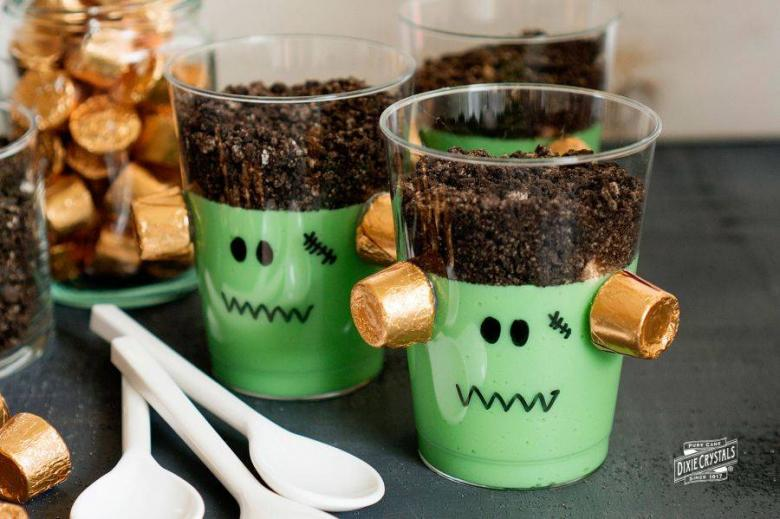 Spooky Frankenstein Pudding Cups