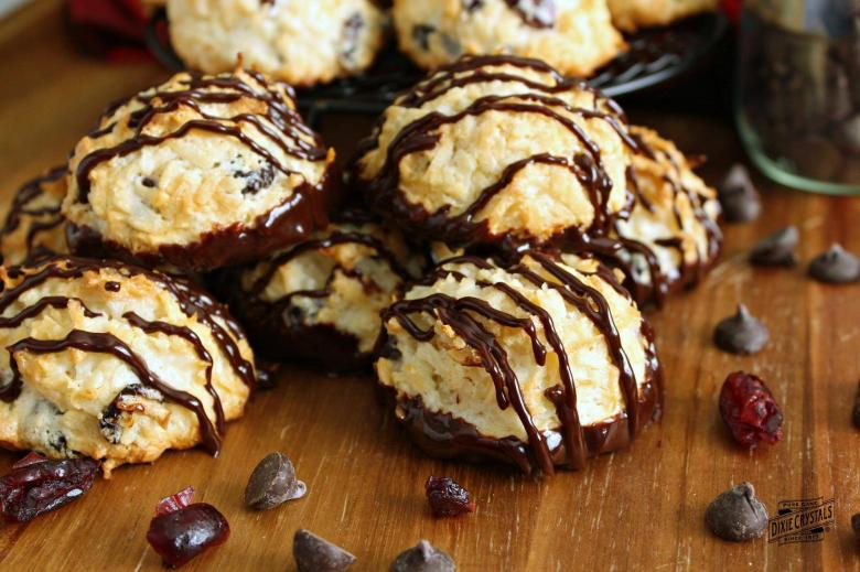 Chocolate Dipped Cranberry Coconut Macaroons