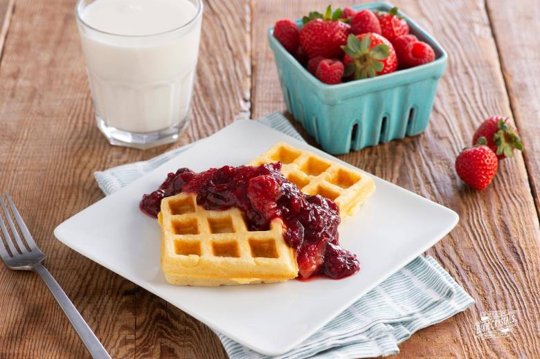 Cornmeal Waffles with Quick Strawberry & Cranberry Fruit Compote