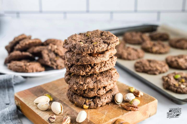 Dark Chocolate Pistachio Pecan Cookies