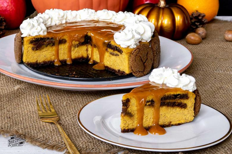 Gingersnap Pumpkin Cheesecake with Caramel Topping