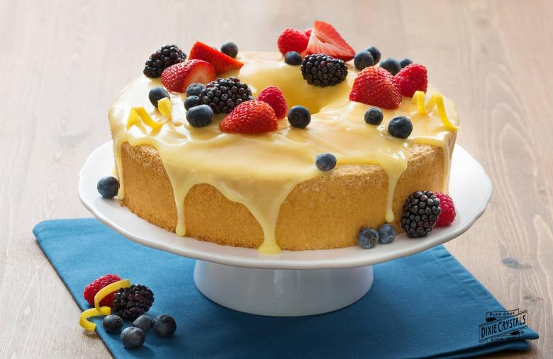 Lemon angel food cake with lemon curd topping dixie crystals lemon angel food cake with lemon curd topping forumfinder Images