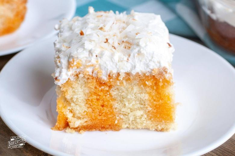 Orange Poke Cake with Toasted Coconut