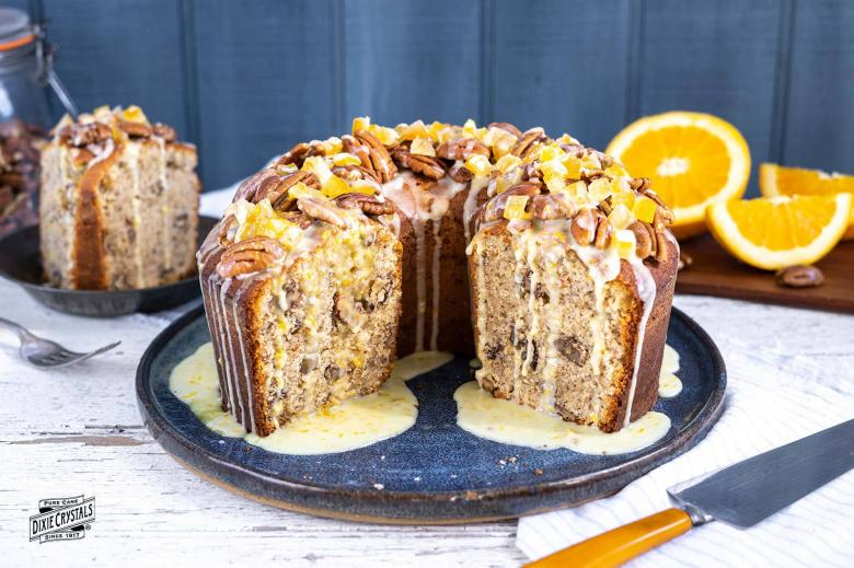 Pecan Pound Cake With Orange Glaze
