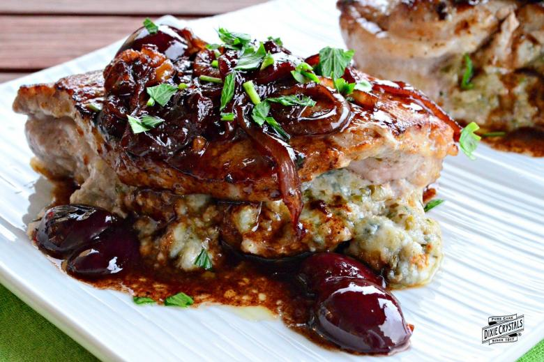 Cherry Basil Pesto Stuffed Pork Chops