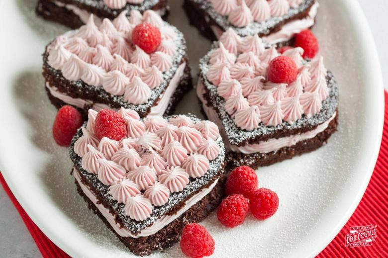 Chocolate Cake Hearts With Raspberry Frosting Dixie Crystals