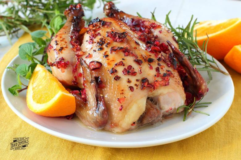 Cranberry Crusted Cornish Hens
