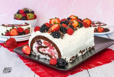Berries and Cream Chocolate Cake Roll