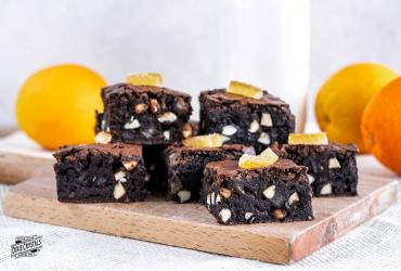 Candied Orange Peel Almond Brownies