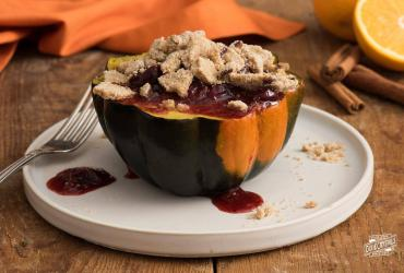 Cookie Topped Fruit Stuffed Acorn Squash
