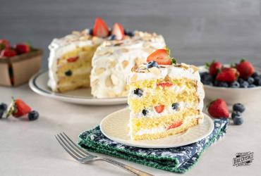 Four Layer Cake with Crème Chantilly & Berries