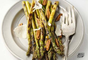 Grilled Asparagus with Toasted Pecans and Shaved Parmesan