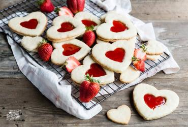 Heart Shaped Butter Cookies with Jam