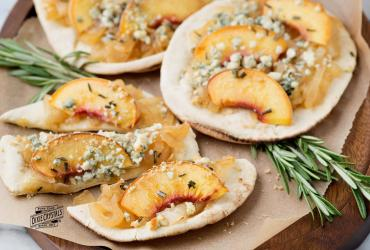 Peach and Caramelized Onion Flat Bread Pizza