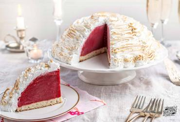Raspberry Bombe with Baked Almond Meringue