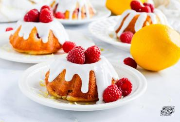 Raspberry Lemon Mini Bundt Cakes