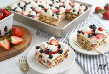 No Bake Red White Blue Icebox Cake
