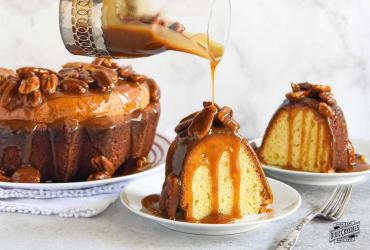 Sour Cream Pound Cake With Salted Pecan Caramel Topping