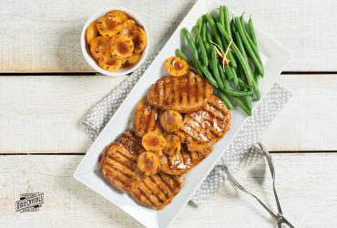 Sriracha Apricot Glazed Pork and Grilled Apricots
