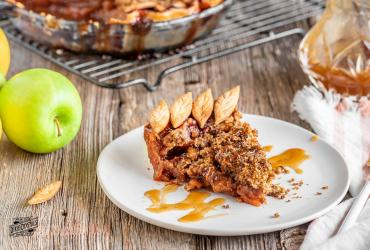 Apple Crumb Pie with Butter Rum Sauce