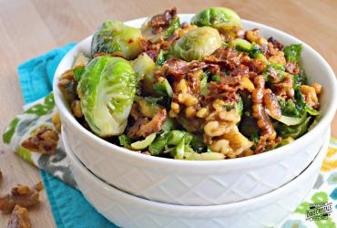 Brown Sugar Bacon Brussels Sprouts with Candied Walnuts