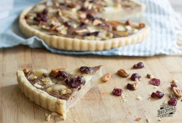 Caramelized Pear & Brie Tart with Cranberries & Candied Pecans