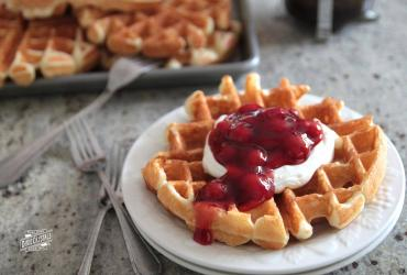 Cherry Cheesecake Sour Cream Waffles