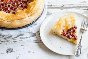 Cranberry White Chocolate Clafouti with Orange Balsamic Glaze