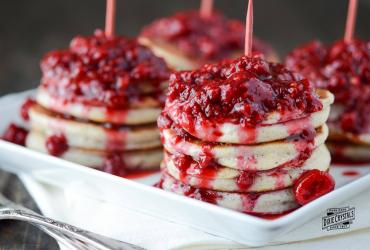 Homemade Pancakes with Raspberry Sauce