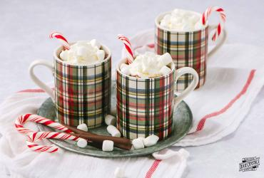 Hot Cocoa with Chocolate Dipped Peppermint Candy Canes