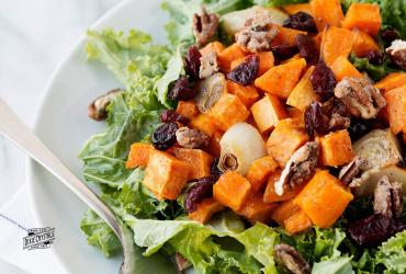 Kale & Roasted Sweet Potato Salad with Candied Pecans