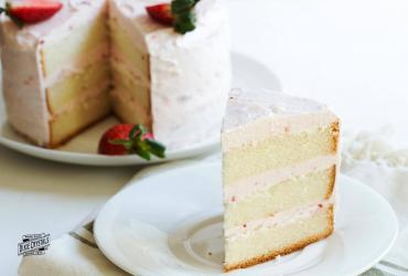 Lemon Cake with Strawberry Butter Cream Icing