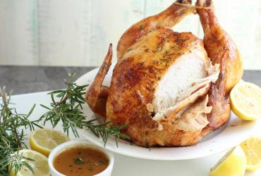 Lemon Herb Brined Beer Can Roasted Chicken