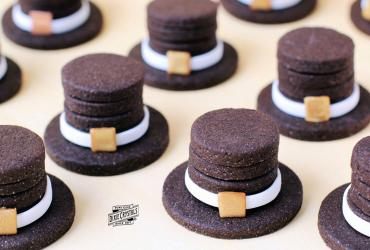 Stacked Chocolate Pilgrim Hat Cookies