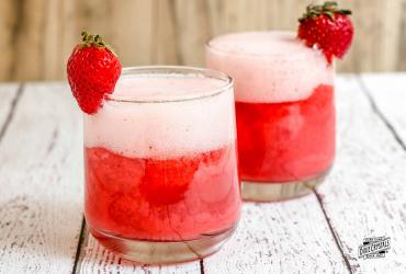 Strawberry Sorbet Champagne Floats