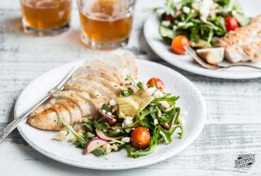 Grilled Balsamic Chicken With Mediterranean Salad